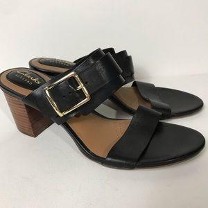 Clarks Artisan Black Leather Sandal Block Heel